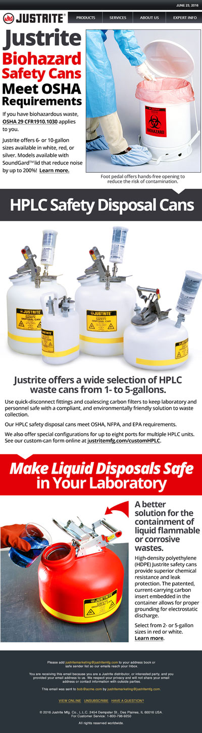 Justrite Safety Cans Email Blast