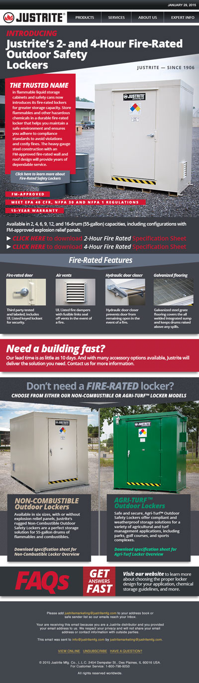 Justrite Safety Lockers Email Blast