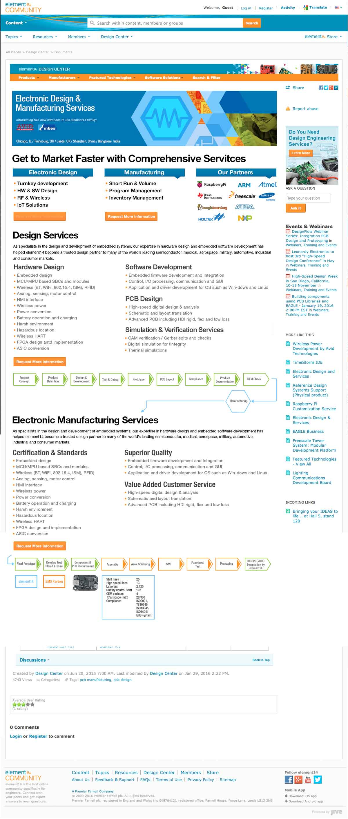 element14 Design and Custom Manufacturing Services Page Desigp